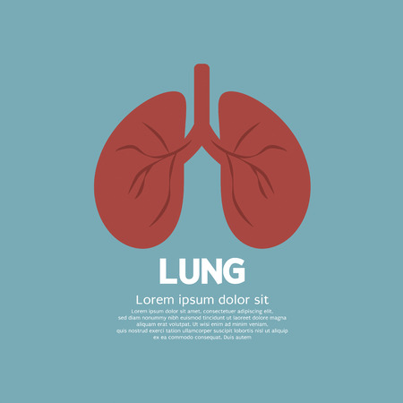 body care: Flat Design Human Lungs On Blue Background Vector Illustration