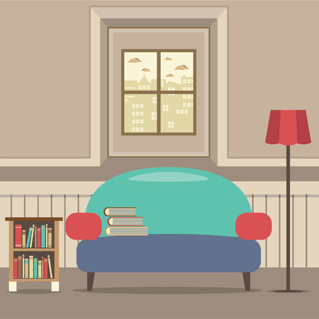 windowsill: Empty Couch With Bookcase In Front Of Window Vector Illustration