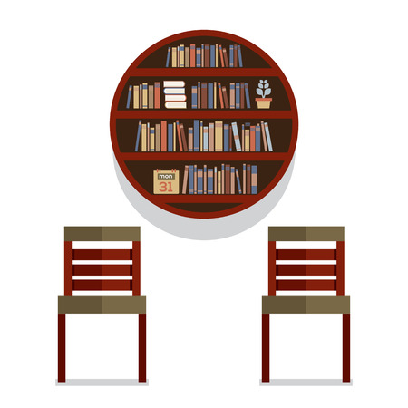 round chairs: Chairs With Round Bookshelf On Wall Vector Illustration
