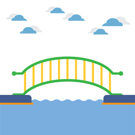 wooden cross: Colorful Bridge Over The River Vector Illustration