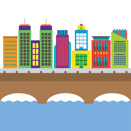 bridge over water: Bridge Cross River And Buildings On Land Vector Illustration Illustration