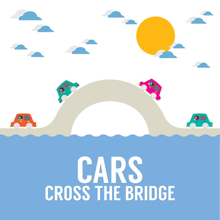 bridge over water: Cars Cross The Bridge Over The River Vector Illustration Illustration