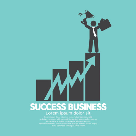 graph: Businessman Standing On An Increase Chart Success Business Concept