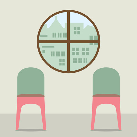 round chairs: Two Chairs Under Round Window Vector Illustration Illustration