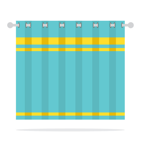 blue curtain: Blue Curtain On White Background Vector Illustration