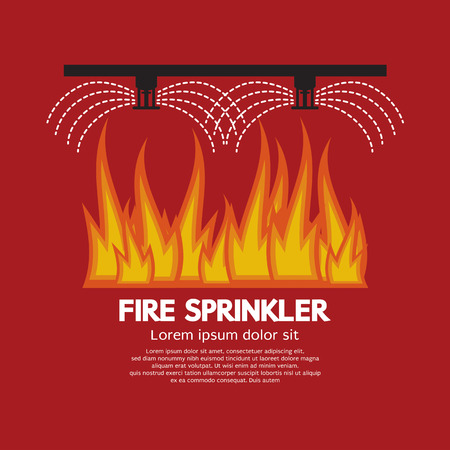 sprinkler alarm: Fire Sprinkler Life Safety Vector Illustration