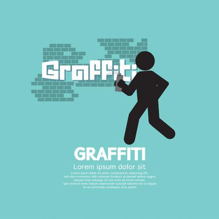 vandalism: Graphic Symbol Of A Man Spraying Graffiti On Wall Illustration