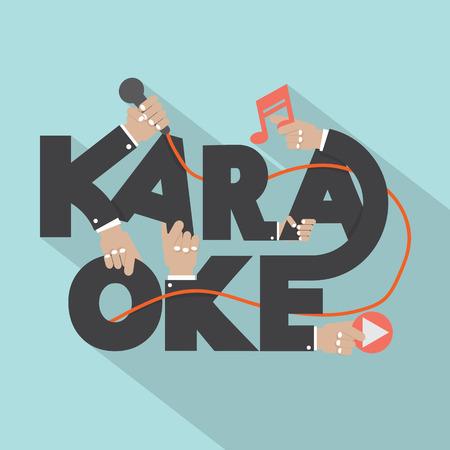 karaoke singer: Microphone Hand With Karaoke Typography Design Vector Illustration Illustration