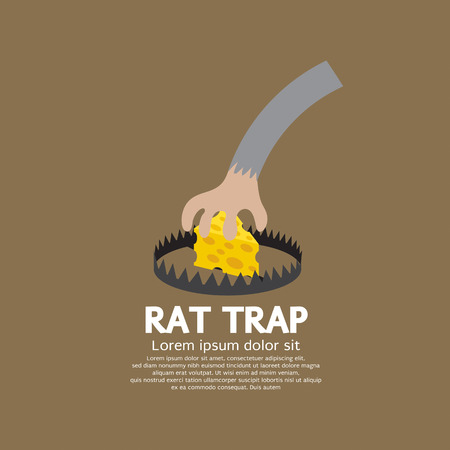 extermination: Cheese In A Rat Trap Vector Illustration