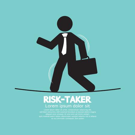 unstable: Businessman Walk On A Line Rask-Taker Concept Illustration