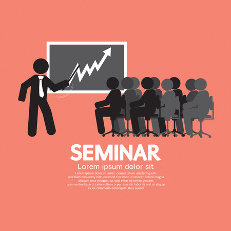 Speaker With Audiences In Seminar Vector Illustration