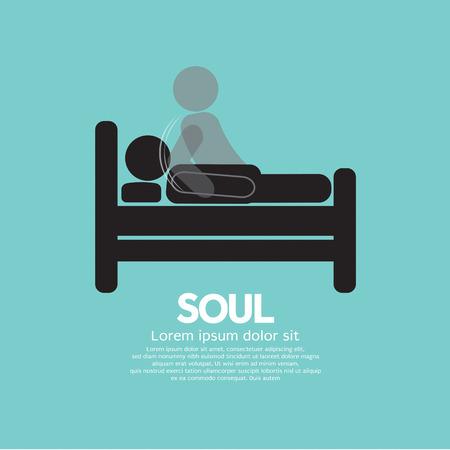 parapsychology: Black Symbol Soul Leaves Body Vector Illustration