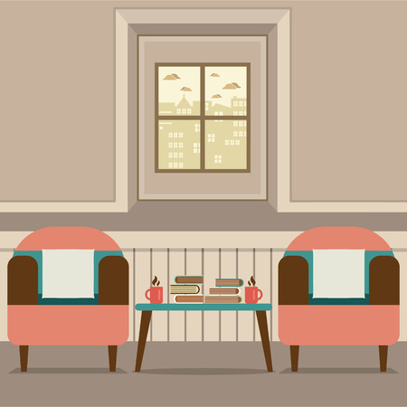 hot seat: Two Sofas With Hot Coffee Cup And Books On Table Vector Illustration