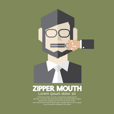hush hush: Flat Design Zipper Mouth Man Vector Illustration Illustration