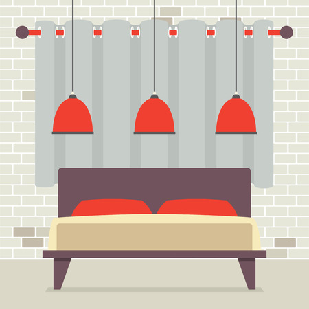 headboard: Double Bed With Red Ceiling Lamps In Front Of Brick Wall