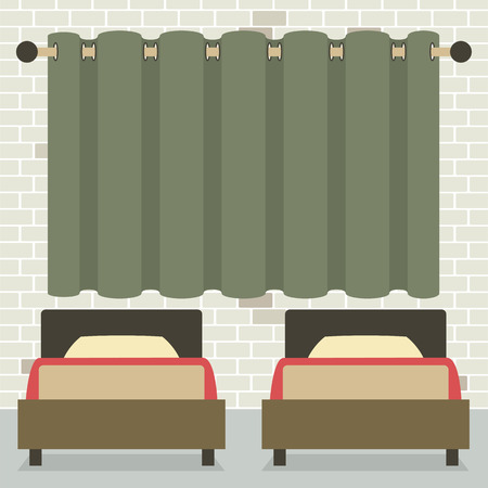 twin bed: Twin Beds In Front Of Curtain And Brick Wall