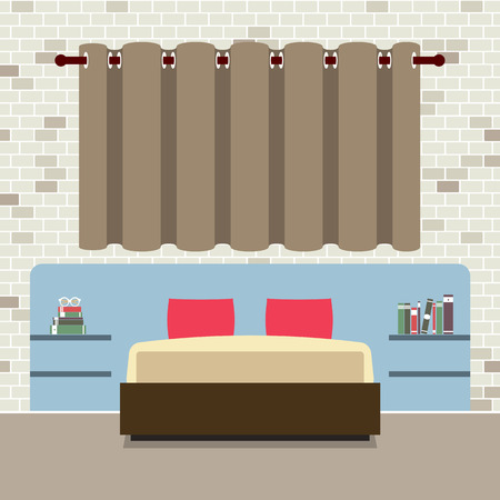 headboard: Flat Design Double Bed With Headboard Vector Illustration