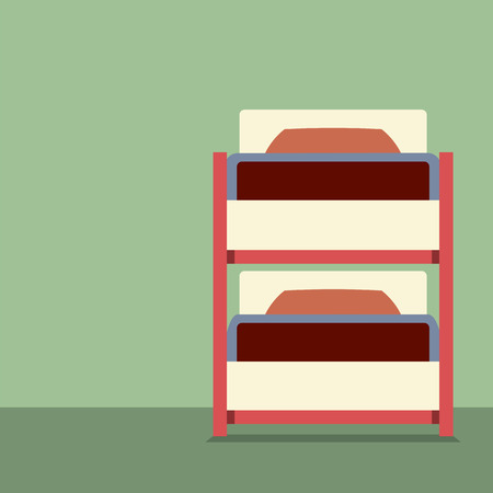 bunkbed: Flat Design Empty Bunk Bed Vector Illustration