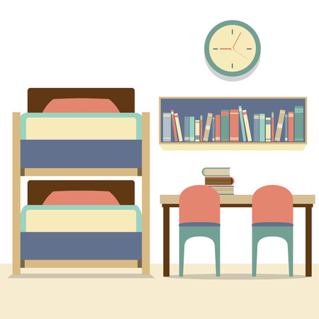 bunkbed: Empty Bunk Bed With Table And Chairs Vector Illustration