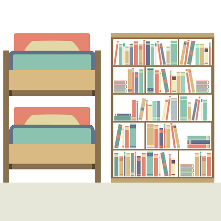 bunk bed: Flat Design  Bunk Bed With Big Bookcase Vector Illustration