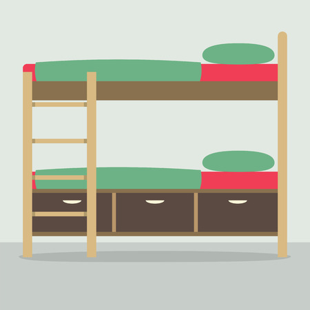 bunkbed: Side View Of Bunk Bed On Floor Vector Illustration Illustration