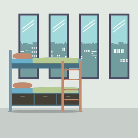 bunk bed: Side View Of Bunk Bed With Four Glass Windows Vector Illustration