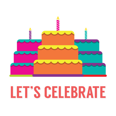 Set Of Colorful Stack Cakes With Candles Vector Illustration