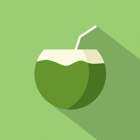 coconut drink: Flat Design Coconut Icon Vector Illustration