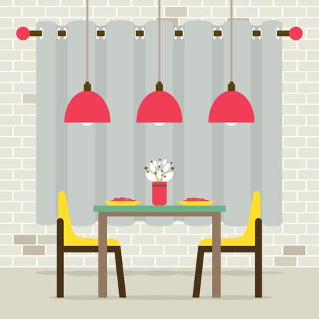 Empty Dinning Room Interior Vector Illustration Ilustracja
