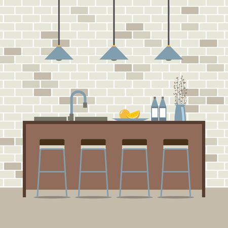 Modern Flat Design Kitchen Interior Vector Illustration
