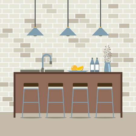 domestic kitchen: Modern Flat Design Kitchen Interior Vector Illustration