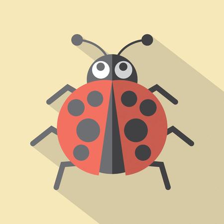 lady beetle: Flat Design Ladybug Icon Vector Illustration