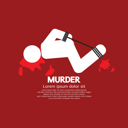 victim: Murder Victim By Hands And Feet Tied Vector Illustration