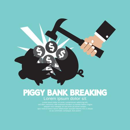 hammer: Piggy Bank Breaking By Hammer Vector Illustration Illustration