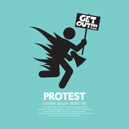 riot: Protester With A Protest Message Board Vector Illustration