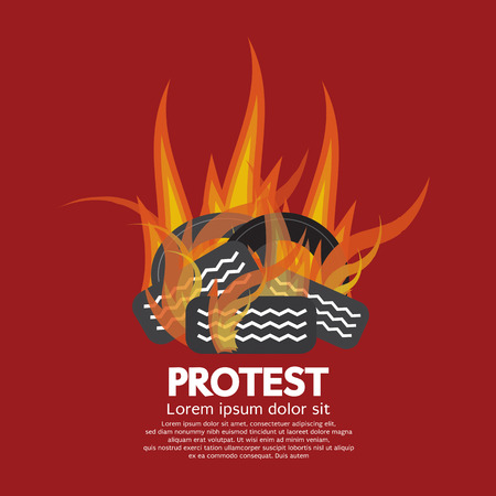 boycott: Protest By Tires Burned Vector Illustration