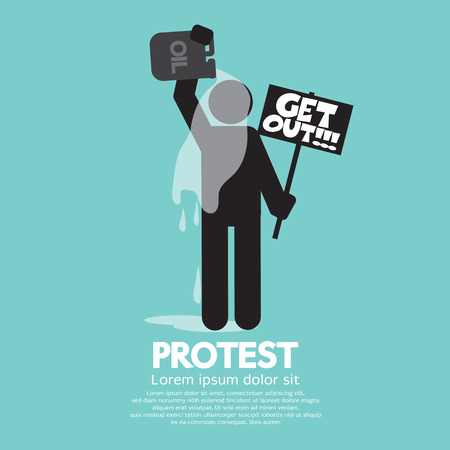 himself: Protester Burning Himself With Oil Vector Illustration