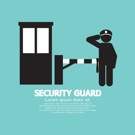 road barrier: Security Guard With Closed Barrier Gate Vector Illustration