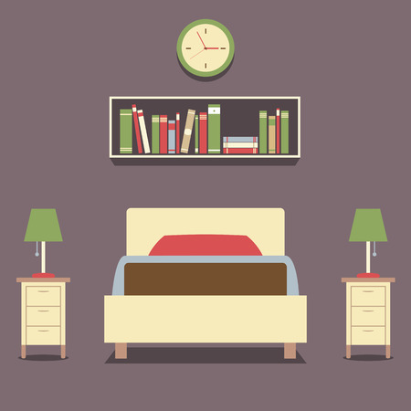 bedroom interior: Flat Design Single Bed With Lamps Vector Illustration Illustration
