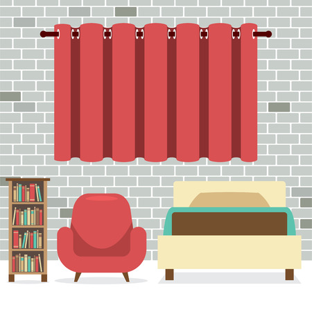 bookcase: Flat Design Single Bed With Sofa And Bookcase Vector Illustration