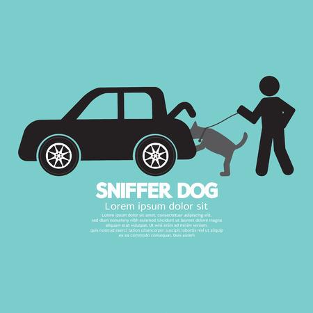 Sniffer Dog Smell Bij Car Trunk Vector Illustration Stock Illustratie