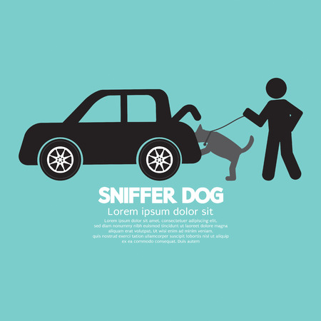 Sniffer Dog Smell At Car Trunk Vector Illustration