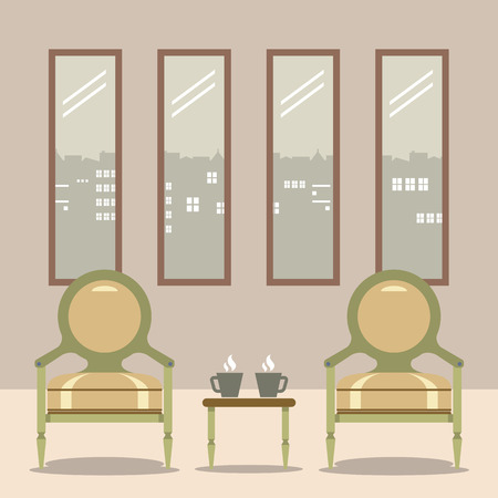 hot seat: Flat Design Empty Chairs With Hot Coffee Cup On Table Vector Illustration