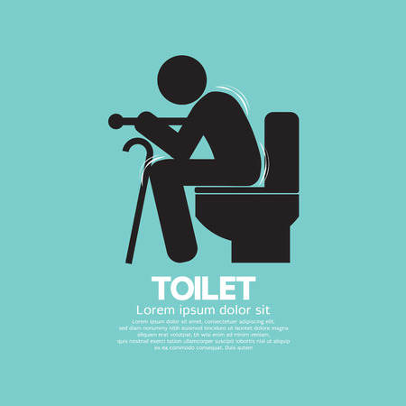 Elderly With Walking Stick Toilet Sign Vector Illustration