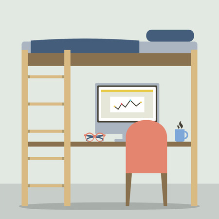 bunk bed: Flat Design Empty Bunk Bed With Workspace Vector Illustration