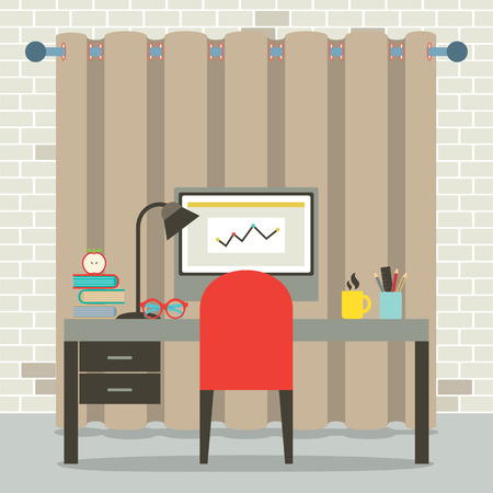 Empty Workplace Flat Design Vector Illustration Vector