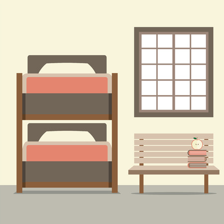 bunk bed: Bunk Bed With Wooden Chair Illustration Illustration