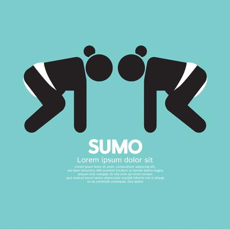 asian adult: Black Symbol Graphic Sumo Fighting Vector Illustration Illustration