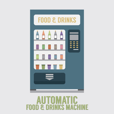 vending: Automatic Food And Drinks Machine Vector Illustration Illustration