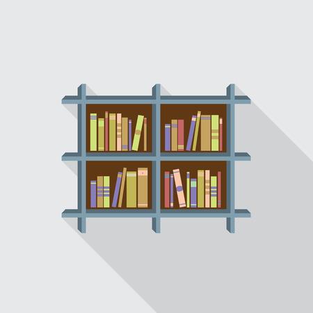 interior shelving: Flat Design Bookshelf On Wall Illustration